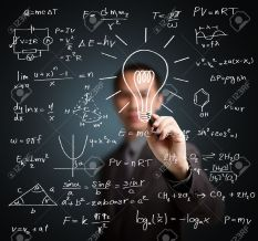 14369960-smart-teacher-writing-various-high-school-maths-and-science-formula-stock-photo